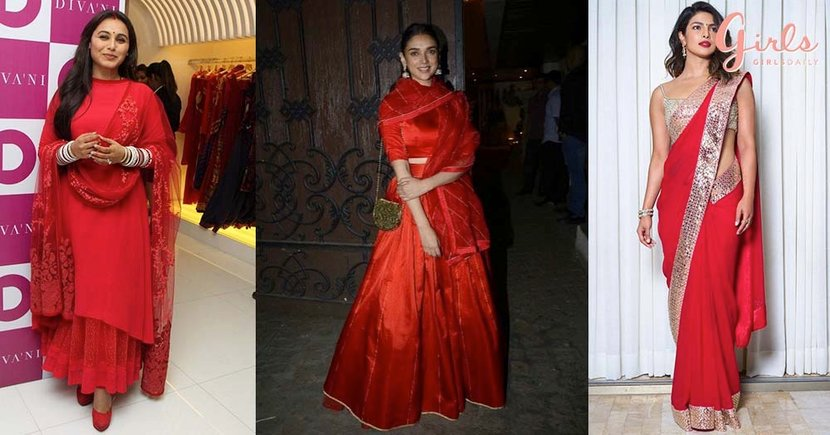 7 Bollywood Celeb WEARABLE Looks To Try Out This Karva Chauth In #RavishingRed