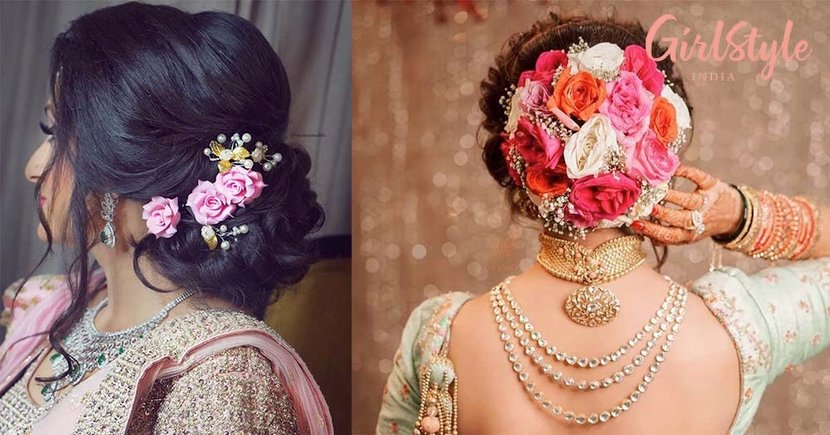 16 Minimalist To Extravagant Floral Bun Hairstyles We Spotted On Brides