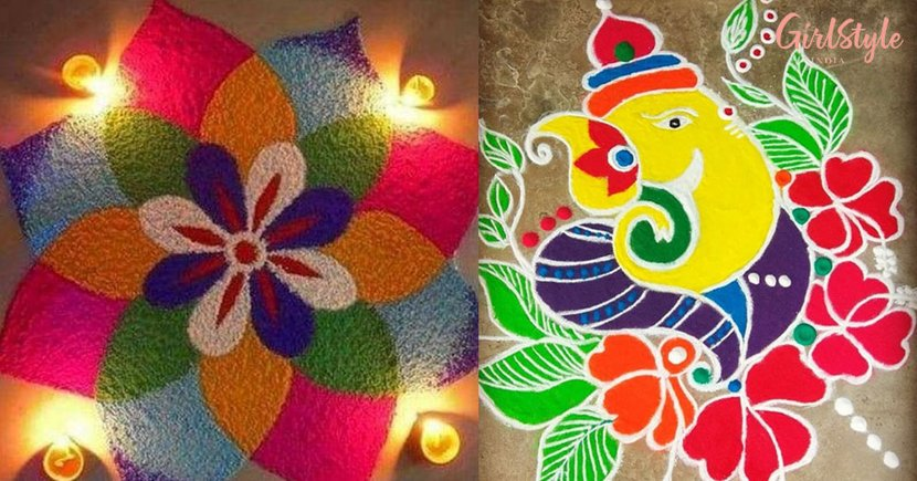 Diwali 2019 Rangoli Designs Make Your Deepavali More Colourful Girlstyle India,Green Plain Saree With Designer Blouse Images