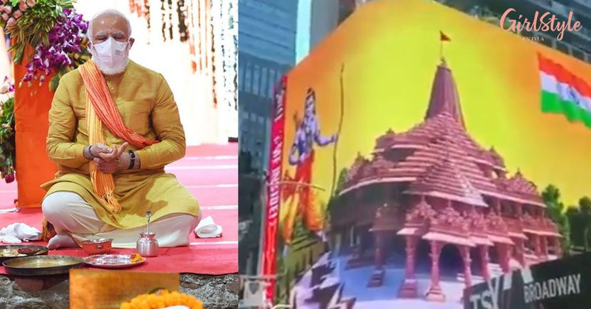 Jai SiyaRam! Digital Billboard OfAyodhya Temple Shines In New York's Times Square