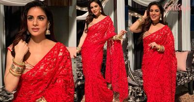 Shraddha Arya Aka Kundali Bhagya's Preeta Looks Breathtakingly Beautiful In Red Saree, See Pics