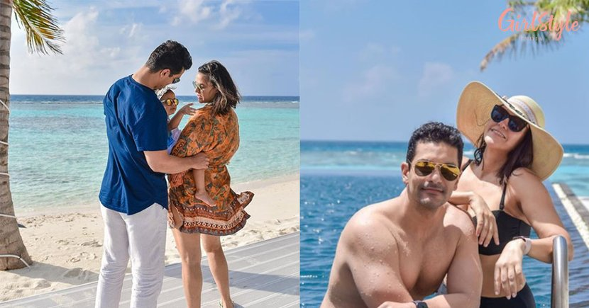 Neha Dhupia, Angad Bedi & Little Mehr Are Enjoying Their Vacation In The Maldives